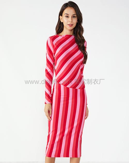 女装生产厂家撞色拼接修身条纹连衣裙