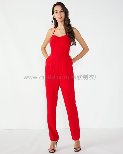 广州服装制造厂插袋吊带高腰锥型连体裤