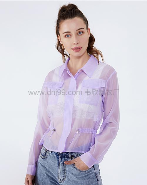 女装贴牌紫色翻领收腰透视防晒衫外套