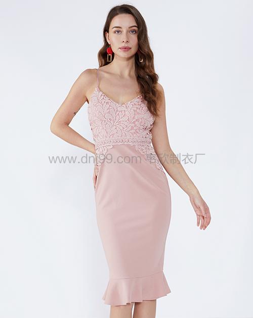 女装生产厂家修身V领吊带拼接蕾丝连衣裙