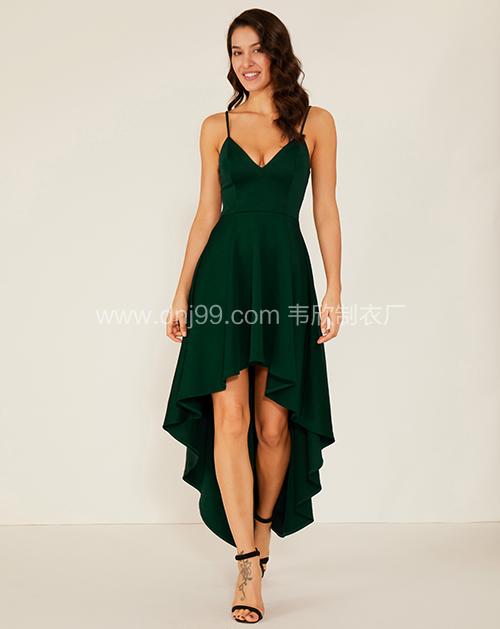 女装服装厂V领前短后长吊带连衣裙