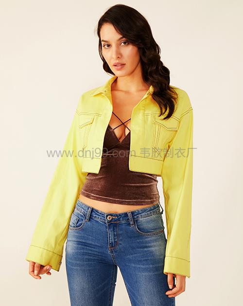 女装生产厂家黄色短款休闲明线牛仔外套