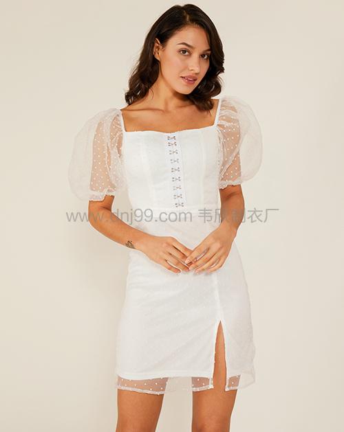 女装生产厂家方领灯笼袖开衩网纱连衣裙