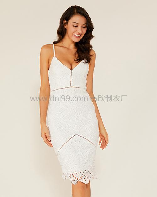 广州服装制造厂吊带修身蕾丝连衣裙