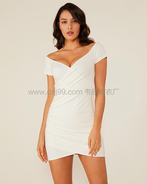 女装服装厂一字肩褶皱修身连衣裙