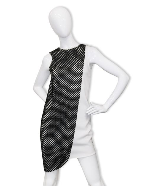 无袖圆领撞色连衣裙2406