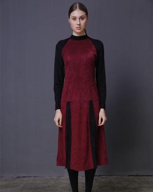 圆领长袖连衣裙_秋季新款长袖圆领撞色连衣裙