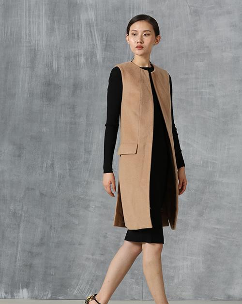 新款保暖无袖毛呢大衣长款修身显瘦气质毛衣风衣