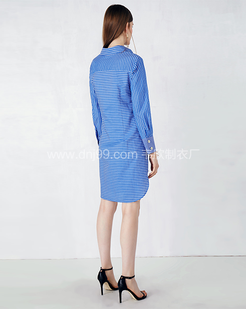 新款长袖系带条纹衬衣连衣裙