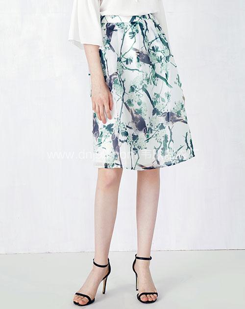 欧根沙印花蓬蓬半身裙
