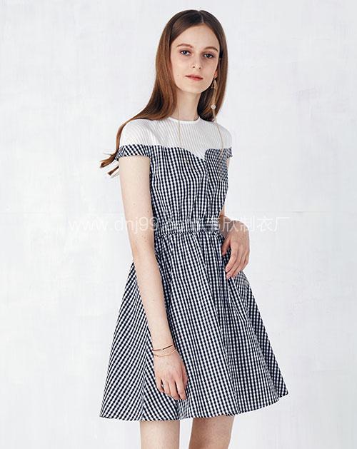格子拼接假两件收腰连衣裙