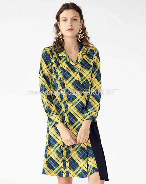 广州服装厂欧美新款翻领格纹撞色拼接连衣裙