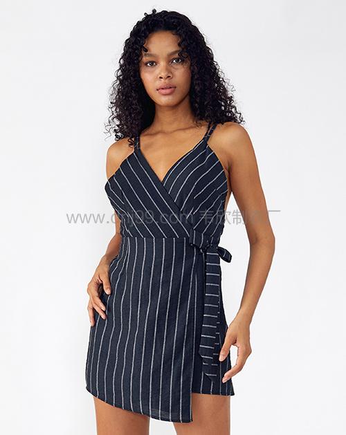 外贸服装厂2019春夏新款V领无袖不规则吊带条纹连衣裙
