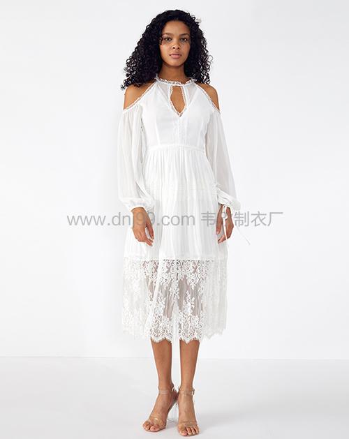 外贸服装厂2019春夏新款透视露肩白色蕾丝连衣裙