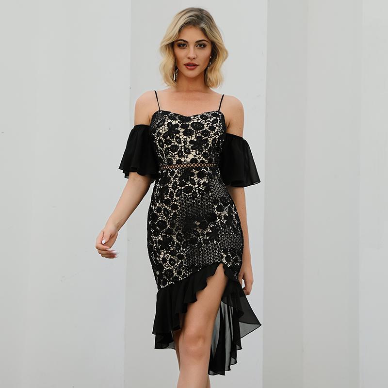 吊带欧美女装贴牌加工蕾丝拼接不规则连衣裙