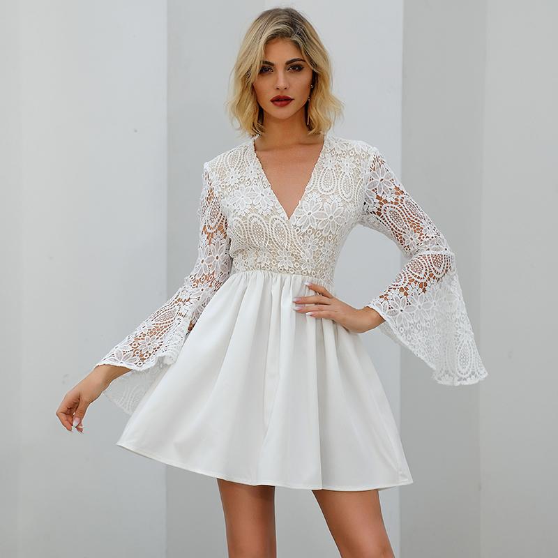 欧美蕾丝连衣裙代工蕾丝透视女装裙