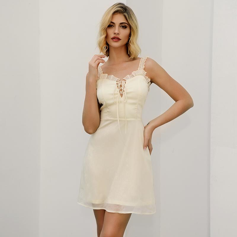 快时尚女装贴牌代工吊带雪纺绑带连衣裙