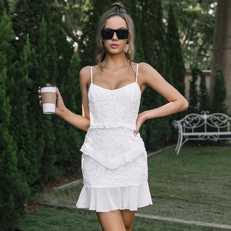 欧美外贸女装夏季吊带蕾丝性感露背荷叶边短裙女现货批发跨境定制厂家