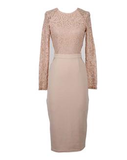 长袖直筒蕾丝连衣裙