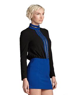 高贵金属链装饰长袖立领连衣裙2242