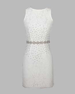 无袖圆领钉珠蕾丝连衣裙