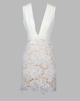无袖V领高腰蕾丝连衣裙