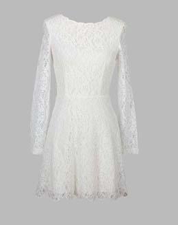 长袖圆领蕾丝连衣裙
