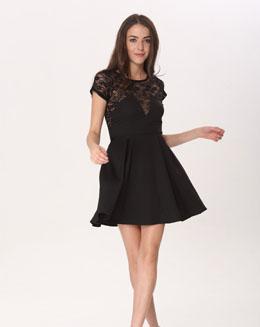 短袖圆领蕾丝连衣裙