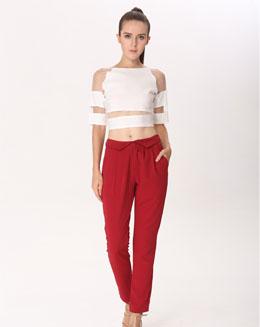 红色紧身长裤