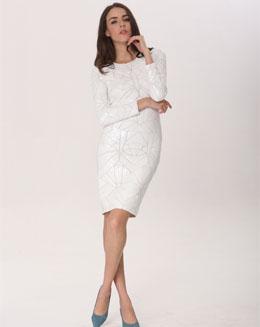 珠片长袖连衣裙