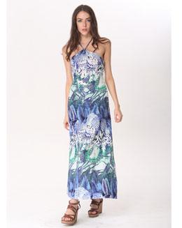 欧美风格印花吊带连衣裙