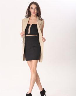 纯色抹胸连衣裙和开襟上衣