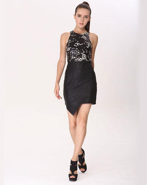 珠片皮拼接连衣裙