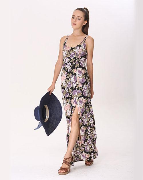 印花吊带连衣裙