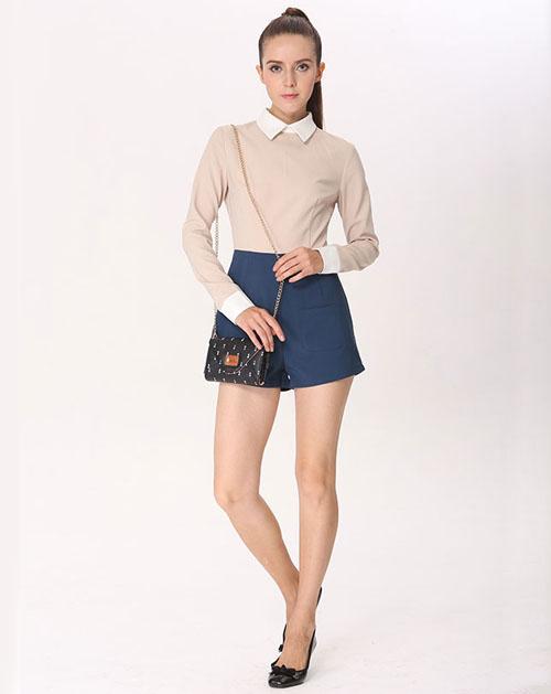 欧美风格纯色连衣裤