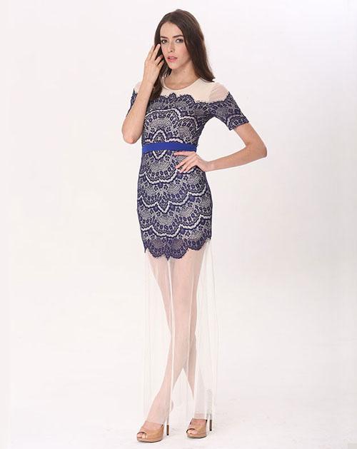 有袖直筒蕾丝连衣裙