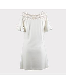 气质蕾丝花瓣袖连衣裙2345