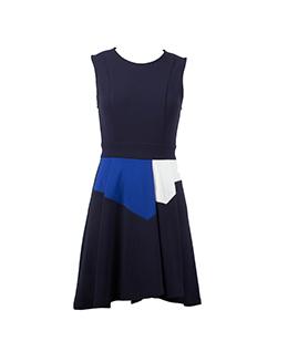 时尚撞色气质连衣裙2195