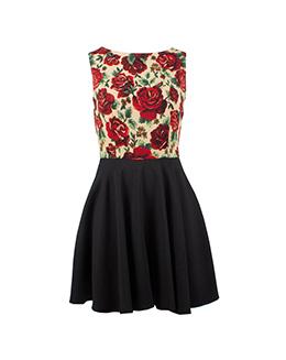 甜美时尚印花连衣裙2197