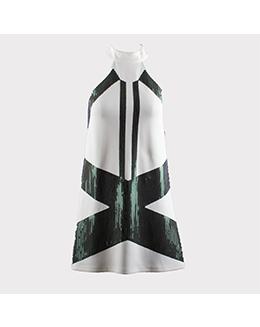 时尚简约绣片立领连衣裙2218
