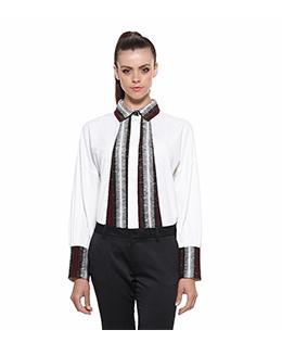 长袖撞色气质衬衫2395