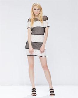 欧美经典黑粉撞色网布拼接连身裙