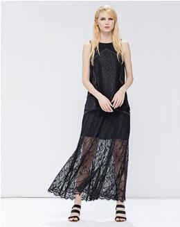 简单宽松蕾丝拼接撞色线无袖上衣和休闲中长裙