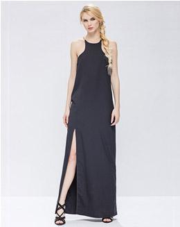 圆领无袖纯色开叉连衣裙