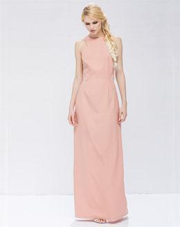 甜美圆领无袖裸色连衣裙
