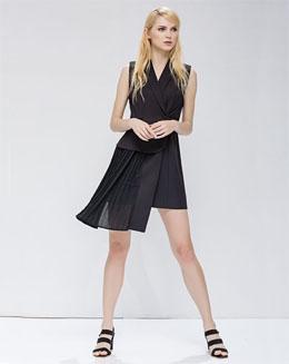 无袖V领纯色西装连衣裙