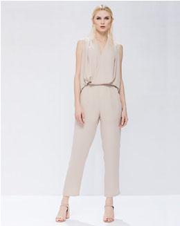 雪纺纯色成熟修身女裤
