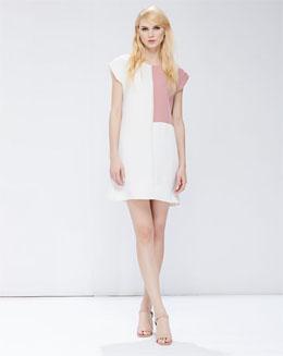 粉色无袖撞色拼接气质女裙