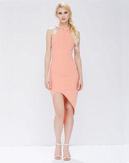 夏季新款女装连衣裙中长款修身欧美前短后质女裙