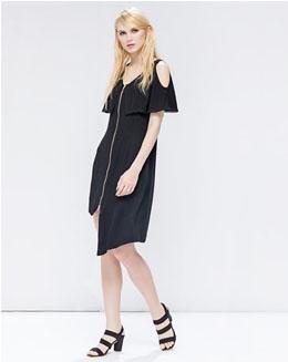 中长款欧美露肩不对称性感连身裙